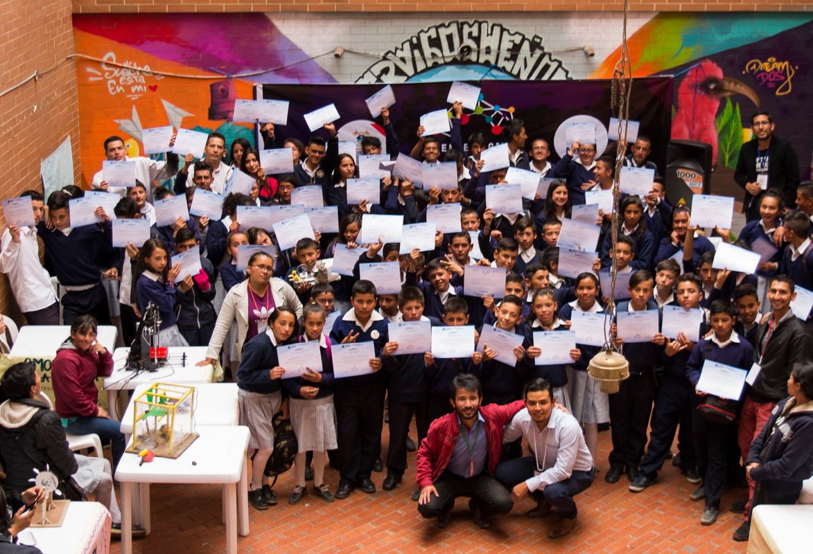 Photo of kids with certificates from the programme.