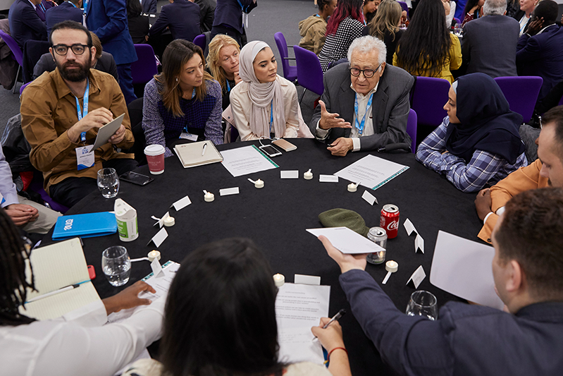 The Elders member, Lakhdar Brahimi in conversation with One Young World Ambassadors