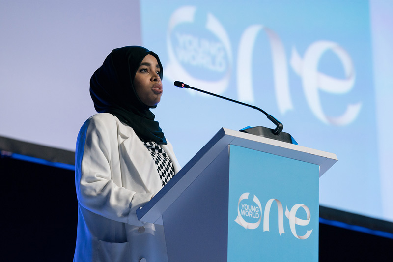 Rumaitha Al Busaidi talking at an OYW summit plenary