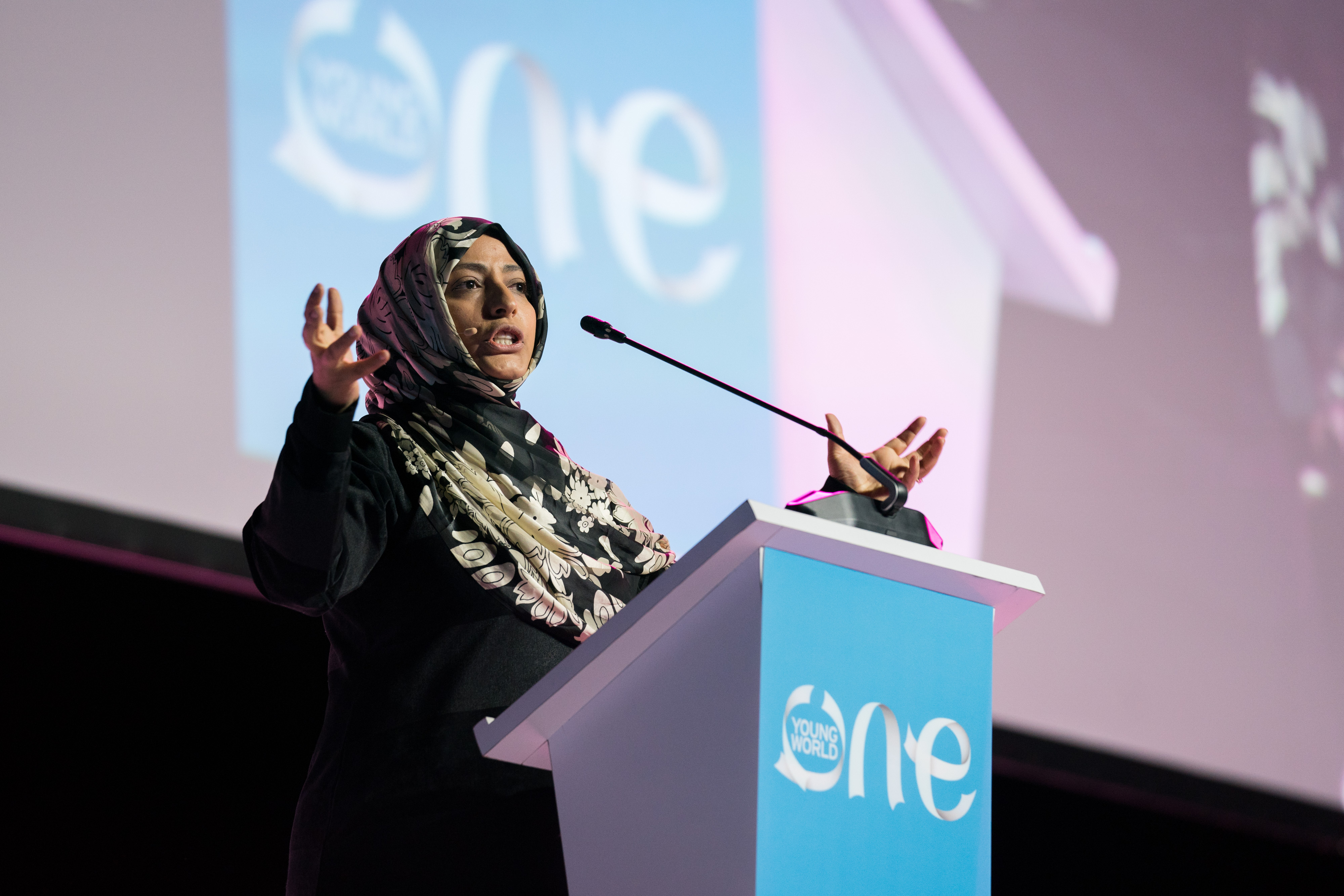 Tawakkol Karman, Nobel Peace Prize, Laureate, One Young World, Human rights, free speech