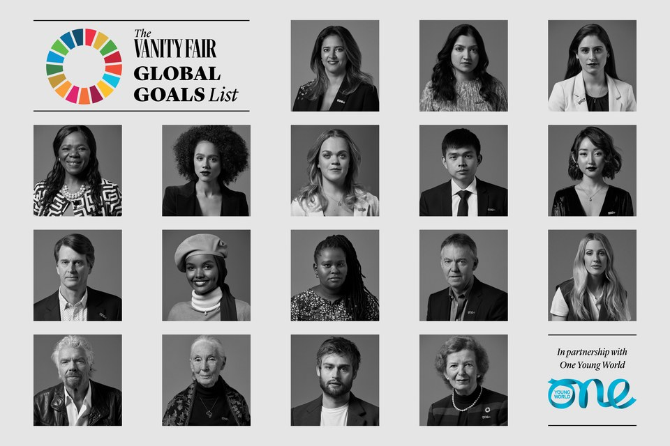 global goals list, vanity fair, one young world